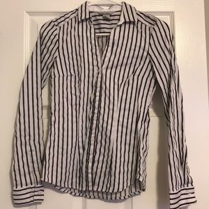 White Navy Striped Button Down Business Casual Top